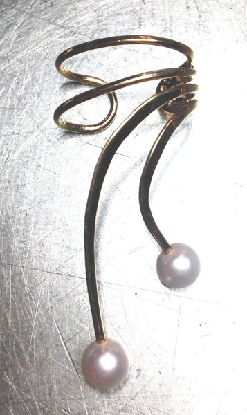 14K Gold Ear Cuffs with Pearl Drops, Pair