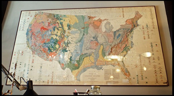 Large Framed Map Of The United States Antiques And Interiors - Large framed us map