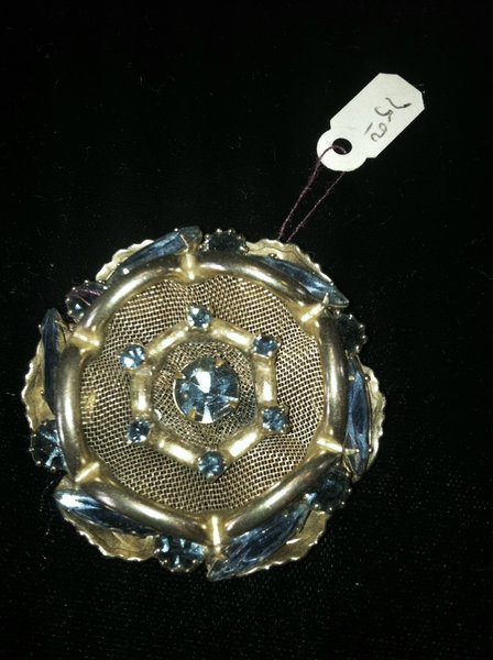 Broach with Mesh Background and Blue Stones