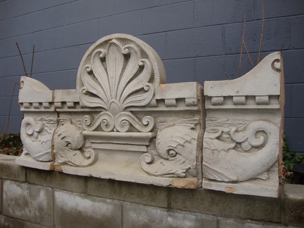19th Century Antique Glazed Terracotta Architectural Wall Frieze With Dolphins