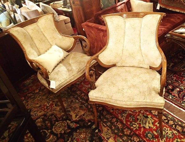 Brass Inlay Pair of Chairs