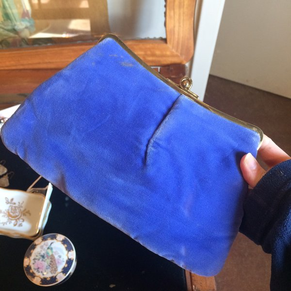 Vintage Blue Velvet Clutch / Purse, After Five by L and M