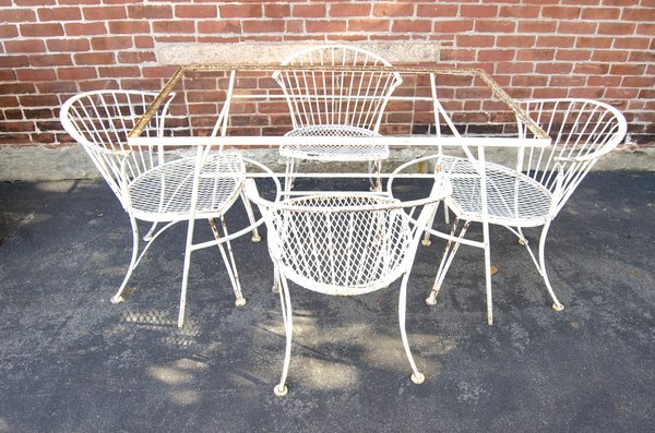 White Midcentury Hand Wrought Set