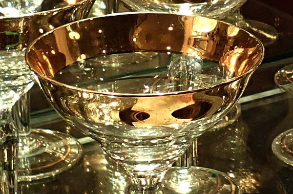 1930's Gold Trimmed Champagne Glasses