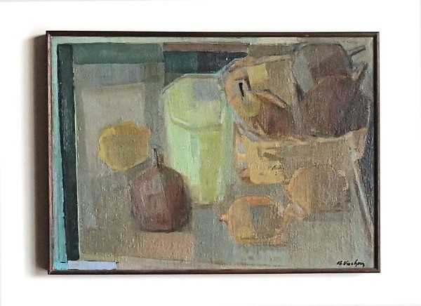 Framed Oil on Canvas Cubist Style Still Life by Vuchon