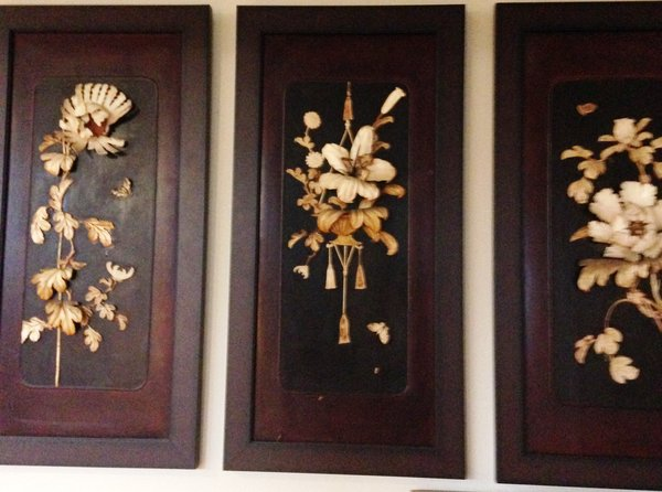 Framed Triptych of Botanicals in Relief
