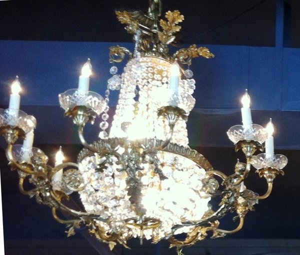 Ornate Gilt and Cut Crystal Chandelier with Mermaid Cherubs and Taper Style Lamps