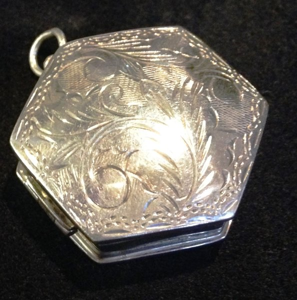 Sterling Silver Hand Chaced Hexagon Shaped Pillbox