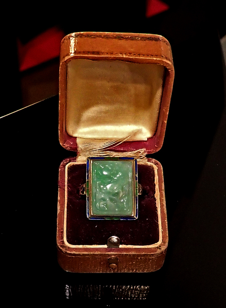 Art Deco Antique 1920's 14k Gold Enamel Ring, with Carved Jade Center Stone