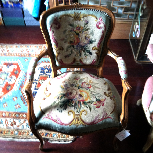 French 19th Century Antique Hand Carved Needlepoint Chair