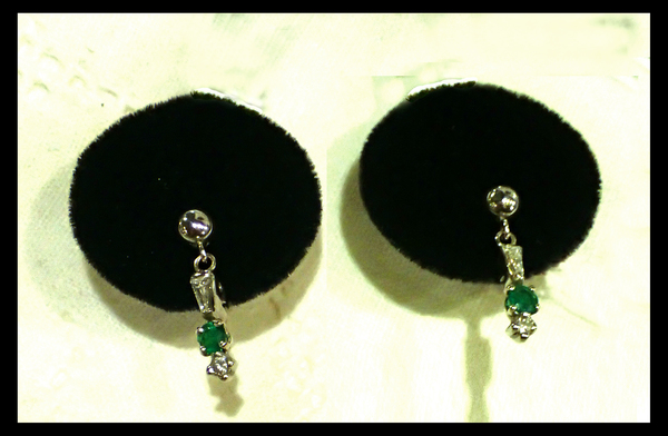 Petite Platinum, Diamond and Emerald Earrings