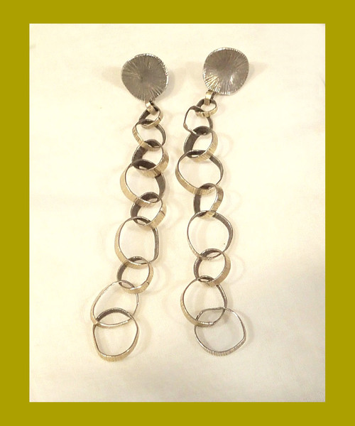 14K Gold and Sterling Silver Chain Earrings Handmade by Artist Amie Plante
