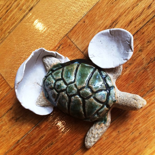 Turtle, Hand Crafted in Clay and Painted