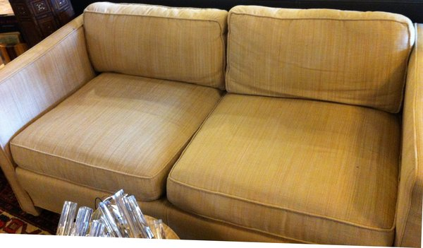 Mid-Century Tuxedo Love Seat with Beige Striped Upholstery