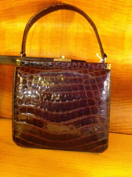 Alligator Purse in Brown with Beige Leather Interior by Manon, Vintage
