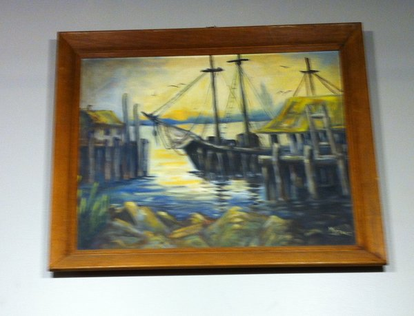 Framed Oil on Canvas, Ship in Harbor Scene by M. Denice