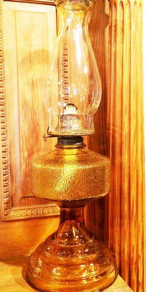 Antique Amber Pressed Glass Hurricane Oil Lamp