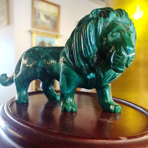 Russian Malachite Lion, Hand Carved
