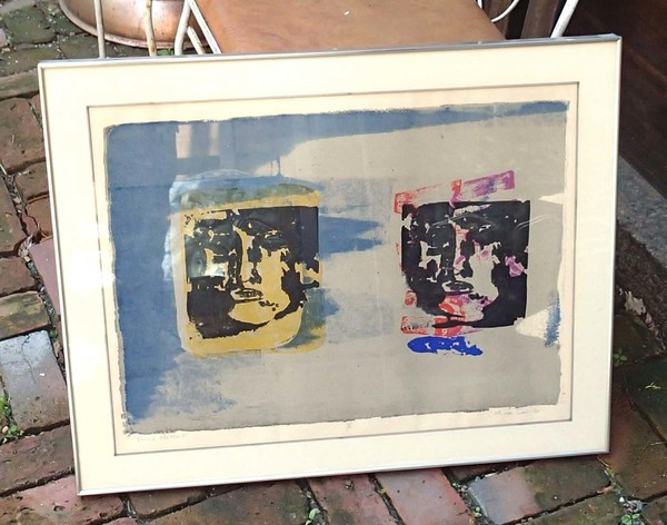 "Framed Michael Sens Signed Lithograph Print ""Double Portrait"" 1968"