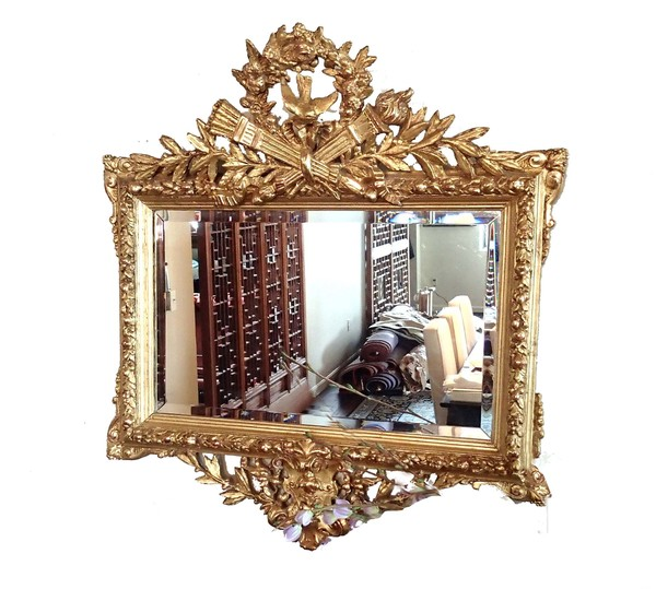 18th Century Antique Rococo Gilt Frame with Original Double Beveled Mirror