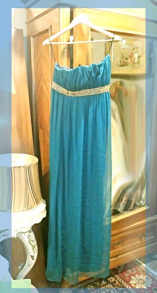 Teal Silk Organza Empire Gown. Maria Bianca Nero
