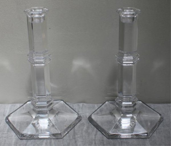 Tiffany Crystal Candlesticks, Pair