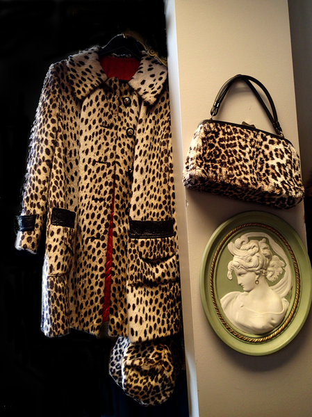Vintage Lord And Taylor Faux Leopard Coat Matching Hat And