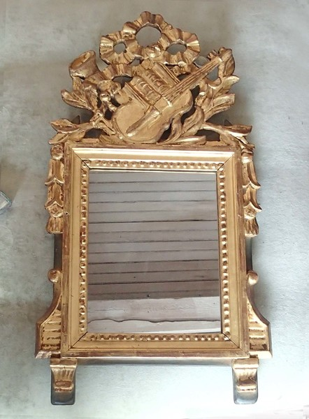 1800's Antique Gilt Mirror with Music Theme