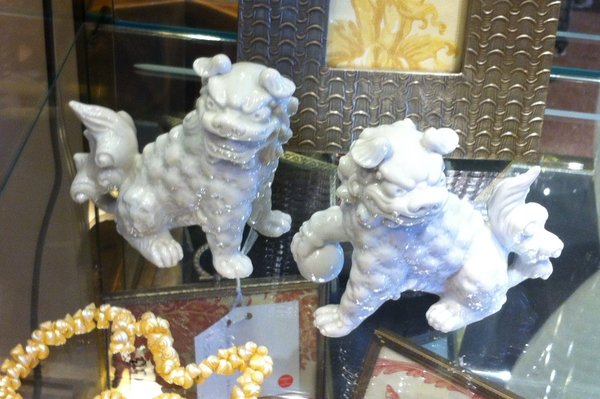 Foo Dogs, Set of 2 in White Porcelain