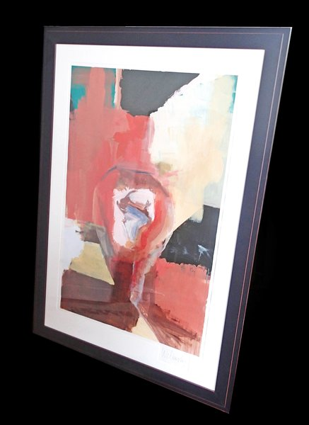 Framed Abstract Oil on Paper by Welinsky