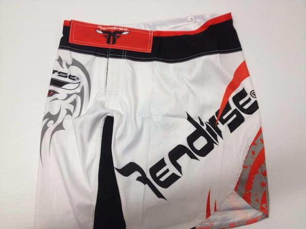 Rendirse White/Red Tribal Fight Shorts