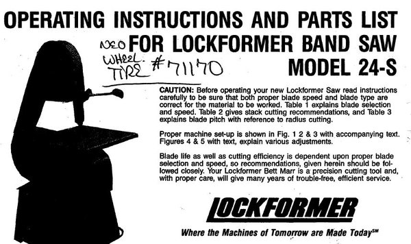 Lockformer Band Saw Model 24 S Parts Book New And Used