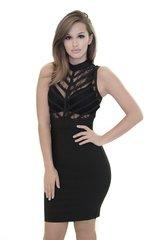 Black Lace Bandage Dress