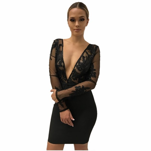Luna Black Bandage Dress