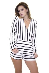 L/S White Striped Short Romper