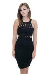Black Caged Bandage Dress