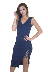 Navy Side Slit Bandage Dress
