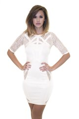 Ivory Lace Bandage Dress