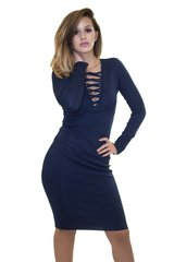 Navy Criss Cross Bandage Dress