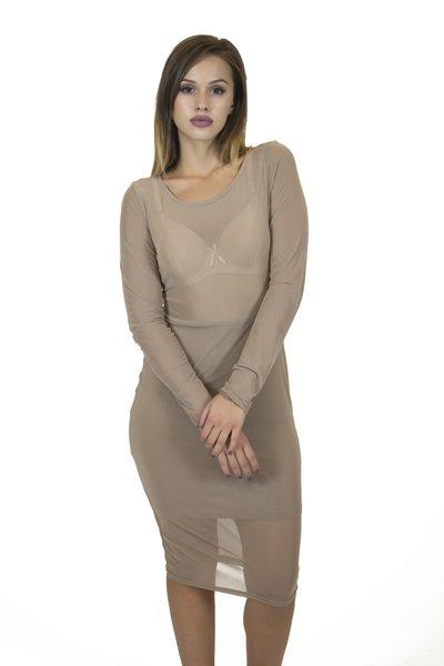 Sand L/S Mesh Dress