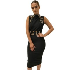 Francie Midi Black Bandage Dress