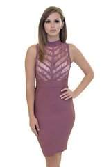 Dusty Rose Lace Bandage Dress