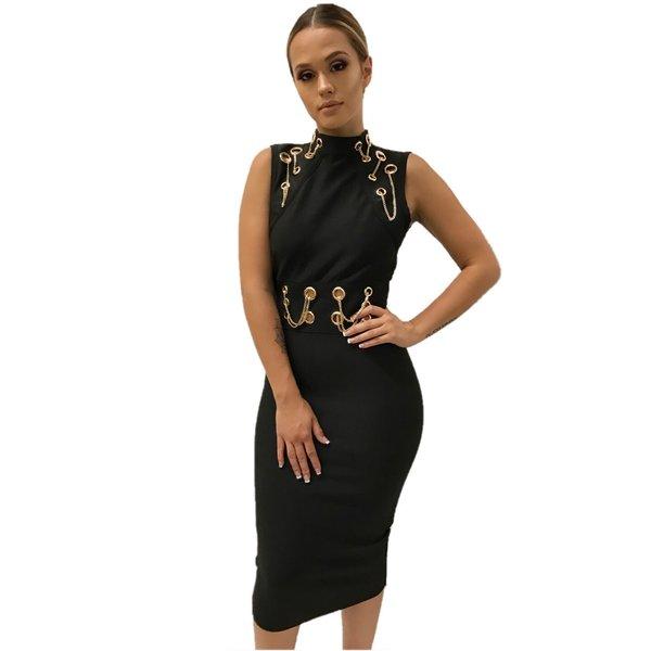 Francie Midi Black Bandage Dress