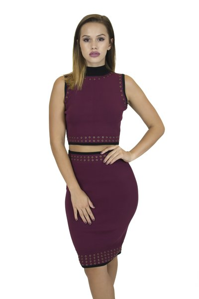 Irania Burgundy Mock Neck Set