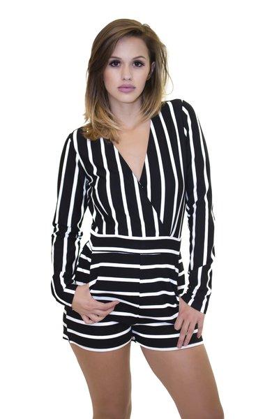 L/S Black Striped Romper