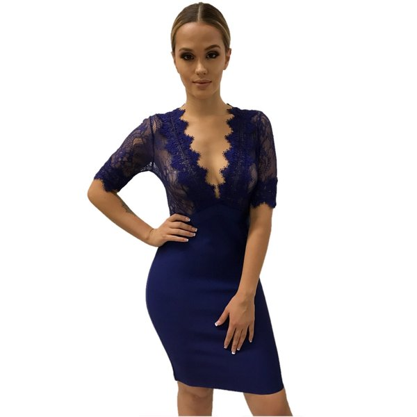 Aarika V Purple Bandage Dress