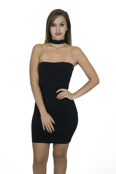 Black Choker Mini Dress