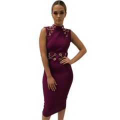 Francie Midi Magenta Bandage Dress