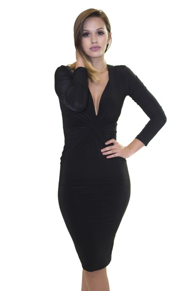 Black L/S Plunge Knot Dress