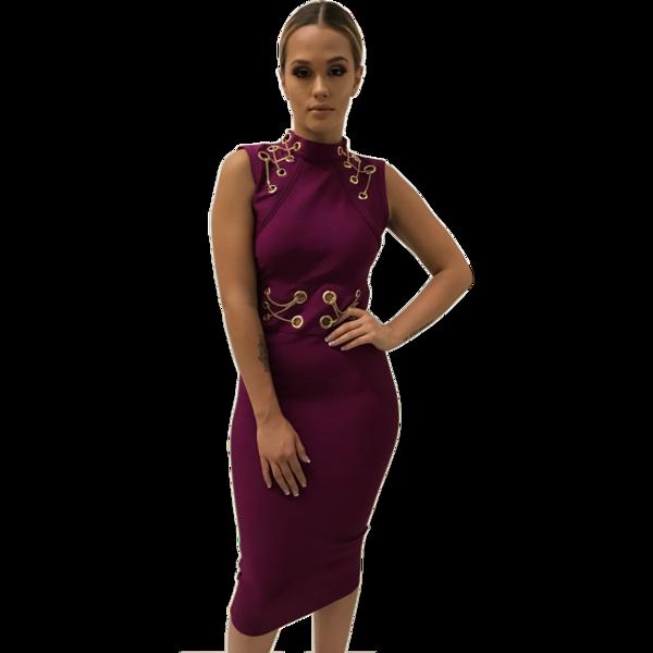Francie Midi Magenta Bandage Dress